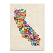 Trademark Fine Art Michael Tompsett 'California Text Map' Canvas Art 16x24 Inches