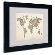 Trademark Fine Art Michael Tompsett 'Ladies Shoes World Map' Matted Art Black Frame 11x14 Inches