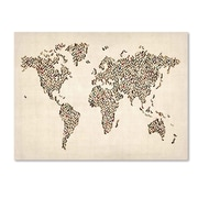 Trademark Fine Art Michael Tompsett 'Ladies Shoes World Map' Canvas Art 22x32 Inches