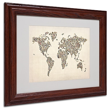 Michael Tompsett 'Ladies Shoes World Map' Matted Framed Art - 11x14 Inches - Wood Frame