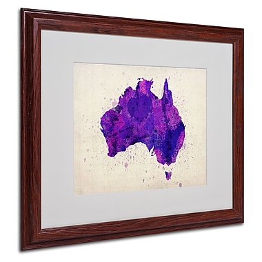 Michael Tompsett 'Australia Paint Splashes Map' Framed - 16x20 Inches - Wood Frame