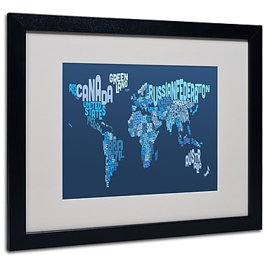 Trademark Fine Art Michael Tompsett 'World Text Map 2' Matted Art Black Frame 16x20 Inches