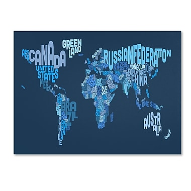 Trademark Fine Art Michael Tompsett 'World Text Map 2' Canvas Art 16x24 Inches