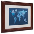 Michael Tompsett 'World Text Map 2' Matted Framed Art - 11x14 Inches - Wood Frame