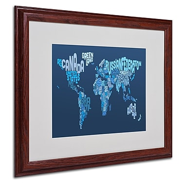 Michael Tompsett 'World Text Map 2' Matted Framed Art - 16x20 Inches - Wood Frame