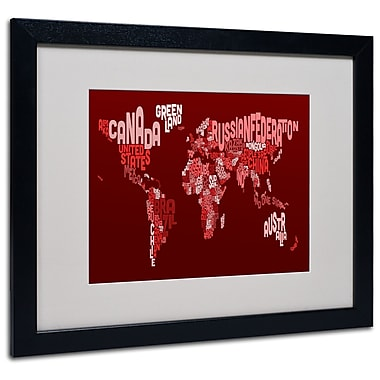 Trademark Fine Art Michael Tompsett 'World Text Map 3' Matted Art Black Frame 16x20 Inches