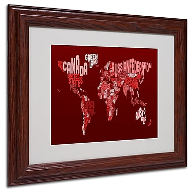 Michael Tompsett 'World Text Map 3' Matted Framed Art - 11x14 Inches - Wood Frame