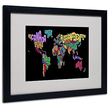 Trademark Fine Art Michael Tompsett 'World Text Map 4' Matted Art Black Frame 16x20 Inches