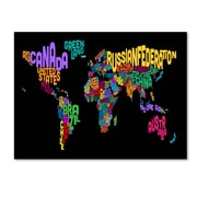 Trademark Fine Art Michael Tompsett 'World Text Map 4' Canvas Art 14x19 Inches
