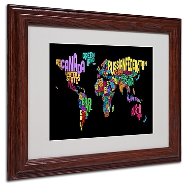 Michael Tompsett 'World Text Map 4' Matted Framed Art - 11x14 Inches - Wood Frame