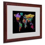 Michael Tompsett 'World Text Map 4' Matted Framed Art - 16x20 Inches - Wood Frame
