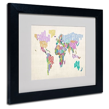 Trademark Fine Art Michael Tompsett 'World Text Map 5' Matted Art Black Frame 11x14 Inches