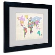 Trademark Fine Art Michael Tompsett 'World Text Map 5' Matted Art Black Frame 11x14 Inches