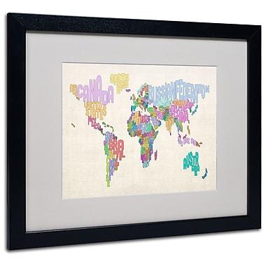 Trademark Fine Art Michael Tompsett 'World Text Map 5' Matted Art Black Frame 16x20 Inches