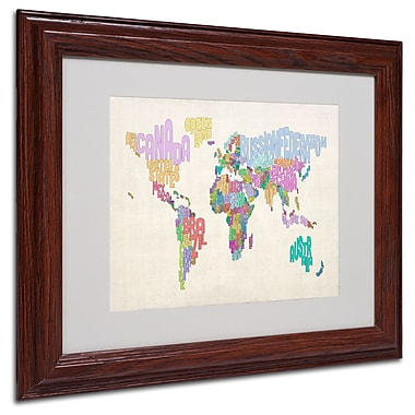 Michael Tompsett 'World Text Map 5' Matted Framed Art - 11x14 Inches - Wood Frame