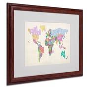 Michael Tompsett 'World Text Map 5' Matted Framed Art - 16x20 Inches - Wood Frame