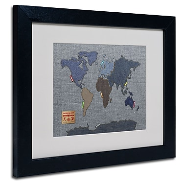 Trademark Fine Art Michael Tompsett 'Denim World Map' Matted Art Black Frame 11x14 Inches
