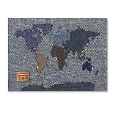 Trademark Fine Art Michael Tompsett 'Denim World Map' Canvas Art 30x47 Inches