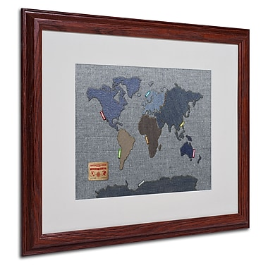 Michael Tompsett 'Denim World Map' Matted Framed Art - 16x20 Inches - Wood Frame