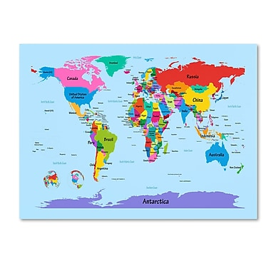Trademark Fine Art Michael Tompsett 'Childrens World Map' Canvas Art 30x47 Inches