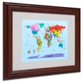Michael Tompsett 'Childrens World Map' Matted Framed Art - 11x14 Inches - Wood Frame