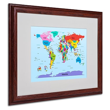 Michael Tompsett 'Childrens World Map' Matted Framed Art - 16x20 Inches - Wood Frame