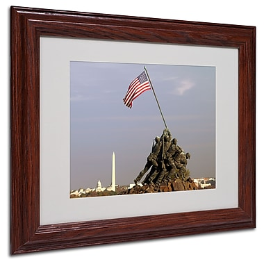 CATeyes 'Marine Corps Memorial' Matted Framed Art - 11x14 Inches - Wood Frame