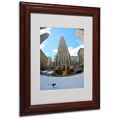 CATeyes 'Rockefeller Center' Matted Framed Art - 11x14 Inches - Wood Frame