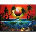 Trademark Fine Art Dolphins at Sunset by Conrad Canvas Art Ready to Hang