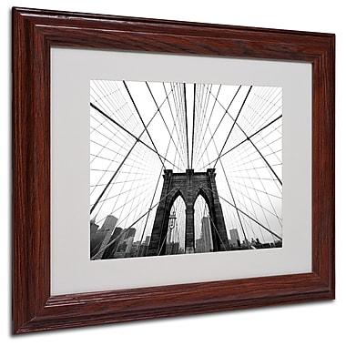 Nina Papiorek 'NYC Brooklyn Bridge' Matted Framed Art - 11x14 Inches - Wood Frame