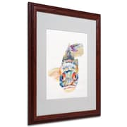 Pat Saunders-White 'Blue Fish' Framed Matted Art - 16x20 Inches - Wood Frame