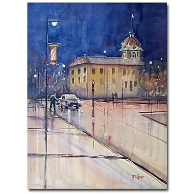 Trademark Fine Art Ryan Radke 'Rainy Night in Green Bay' Canvas Art 35x47 Inches