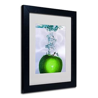 Trademark Fine Art Roderick Stevens 'Apple Splash II' Matted Art Black Frame 11x14 Inches