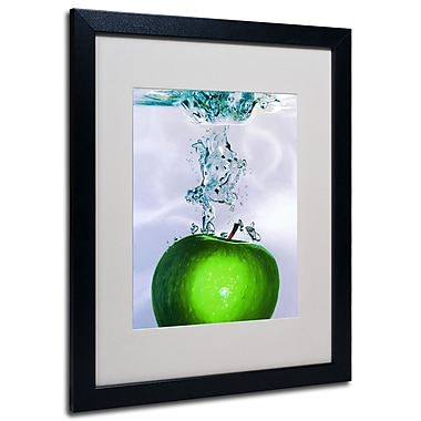 Trademark Fine Art Roderick Stevens 'Apple Splash II' Matted Art Black Frame 16x20 Inches