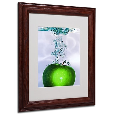 Roderick Stevens 'Apple Splash II' Framed Matted Art - 11x14 Inches - Wood Frame
