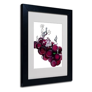 Trademark Fine Art Roderick Stevens 'Grapes Splash II' Matted Art Black Frame 11x14 Inches