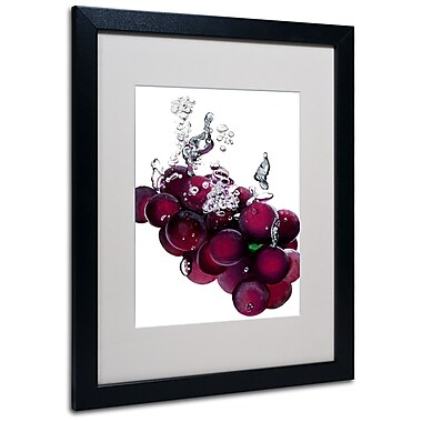 Trademark Fine Art Roderick Stevens 'Grapes Splash II' Matted Art Black Frame 16x20 Inches