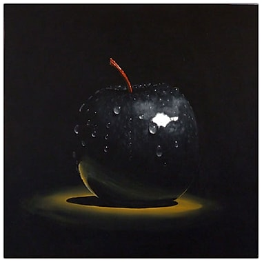 Trademark Fine Art Black Apple by Roderick Stevens-Canvas Art COA 14x14 Inches