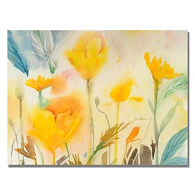Trademark Fine Art Shelia Golden 'Yellow Poppies' Canvas Art 18x24 Inches