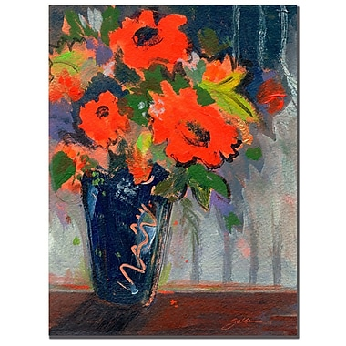 Trademark Fine Art Sheila Golden 'Striped Wall with Red Flowers' Canvas Art 18x24 Inches