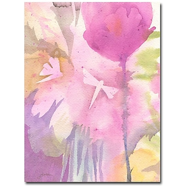 Trademark Fine Art Shelia Golden 'Dragonflies with Pink' Canvas Art 26x32 Inches
