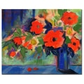 Trademark Fine Art Sheila Golden 'Cobalt Vase with Red Blooms' Canvas Art