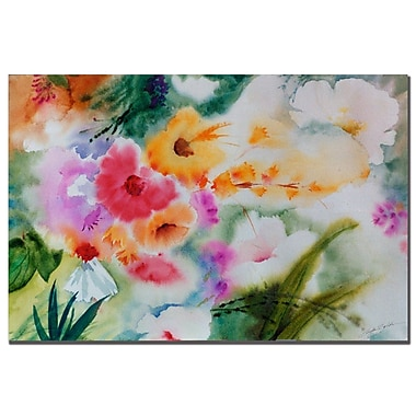Trademark Fine Art Sheila Golden 'Watercolor Flowers' Canvas Art 16x24 Inches