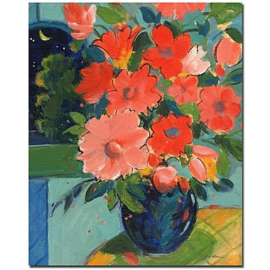 Trademark Fine Art Sheila Golden 'Red Flowers on the Yellow Table' Canvas Art
