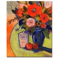 Trademark Fine Art Sheila Golden 'Red Flowers with Jar' Canvas Art