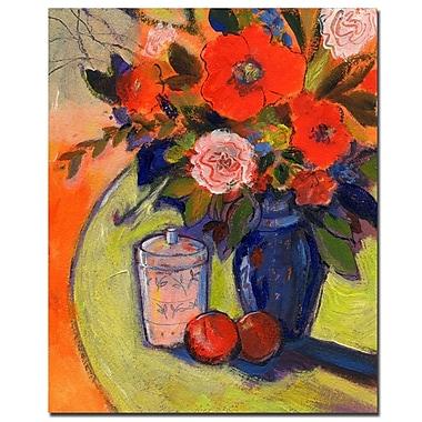 Trademark Fine Art Sheila Golden 'Red Flowers with Jar' Canvas Art