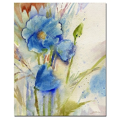 Trademark Fine Art Sheila Golden 'Magical Blue Poppy' Canvas Art 35x47 Inches