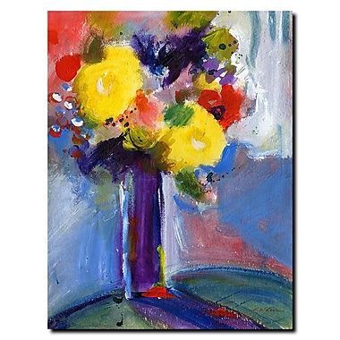 Trademark Fine Art Sheila Golden 'Cobalt Vase' Gallery Wraped Canvas Art 24x32 Inches
