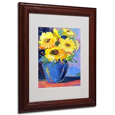 Sheila Golden 'Sunflowers II' Framed Matted Art - 11x14 Inches - Wood Frame