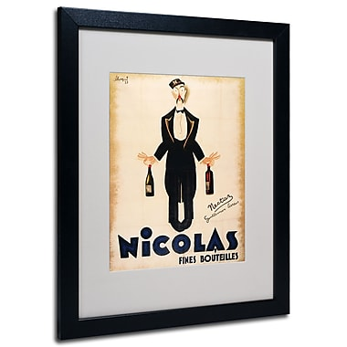 Trademark Fine Art 'Nicolas Fines Bouteilles' Matted Art Black Frame 16x20 Inches